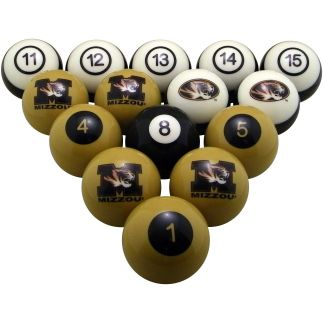 Mizzou Tigers Billiard Ball Set | moneymachines.com