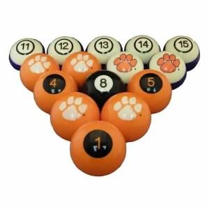 Clemson Tigers Billiard Ball Set   moneymachines.com