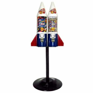 Mighty Mite Rocket Double Vending Machines On Heavy Weight Black Cast Iron Stand | moneymachines.com