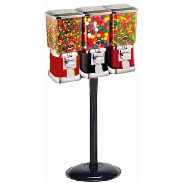 Triple Pro Line Gumball Vending Machines On Heavy Duty Cast Iron Stand   moneymachines.com