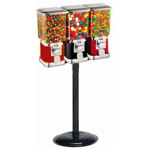 Triple Pro Line Gumball Vending Machines On Heavy Duty Cast Iron Stand | moneymachines.com