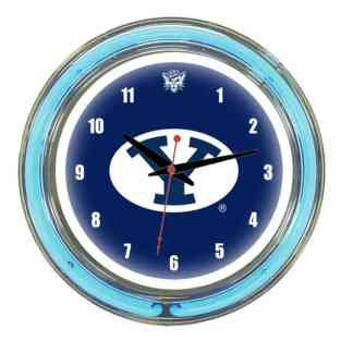 Brigham Young Cougars Neon Wall Clock | Moneymachines.com
