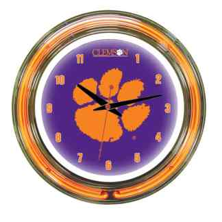 Clemson Tigers Neon Wall Clock | Moneymachines.com