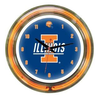 Illinois Fighting Illini Neon Wall Clock | Moneymachines.com