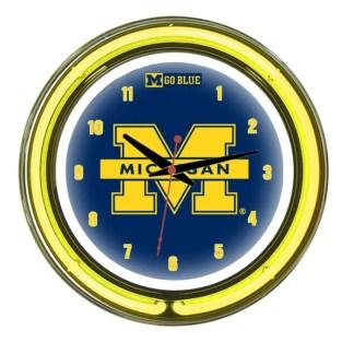 Michigan Wolverines Neon Wall Clock   Moneymachines.com