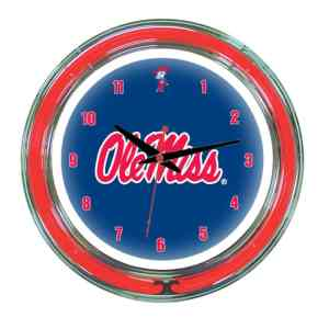 Mississippi Rebels Neon Wall Clock | Mississippi Neon Wall Clock