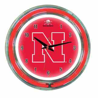 Nebraska Cornhuskers Neon Wall Clock | Moneymachines.com