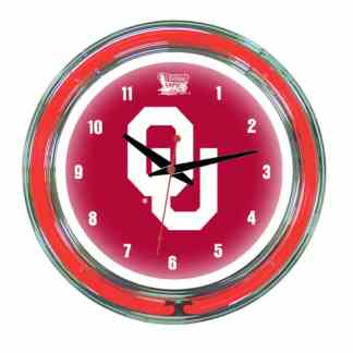 Oklahoma Sooners Neon Wall Clock | Moneymachines.com