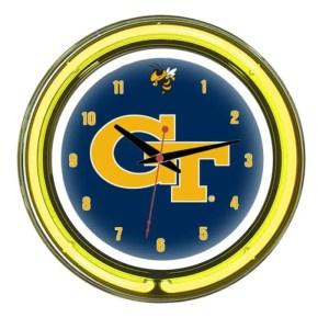 Georgia Tech Yellow Jackets Neon Wall Clock | Moneymachines.com