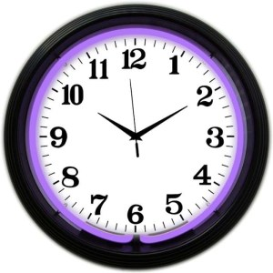 ALPHANUMERIC – BLACK RIM PURPLE NEON CLOCK – 8BANDP | moneymachines.com