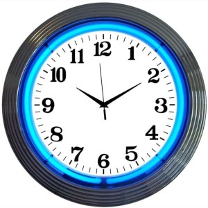 ALPHANUMERIC – CHROME RIM BLUE NEON CLOCK – 8CHRCB | moneymachines.com