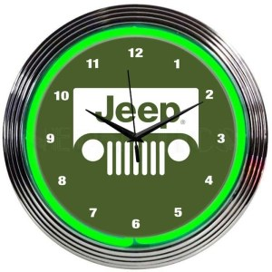 AUTO – JEEP GREEN NEON CLOCK – 8JEEPG | moneymachines.com