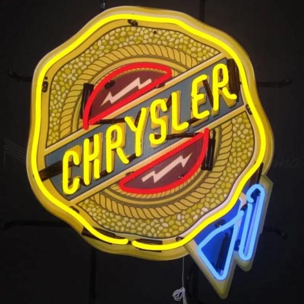 CHRYSLER BADGE NEON SIGN WITH BACKING – 5CRYBK   moneymachines.com