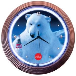 COCA-COLA POLAR BEAR NEON CLOCK – 8CCPLR | moneymachines.com