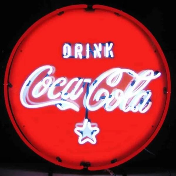 COCA-COLA RED WHITE AND COKE CIRCLE NEON SIGN – 5CCRWC | moneymachines.com