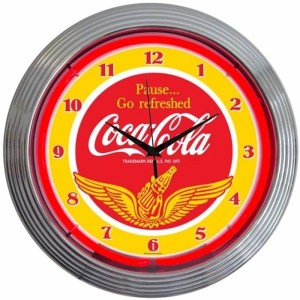 COCA-COLA WINGS NEON CLOCK – 8CCWNG | moneymachines.com