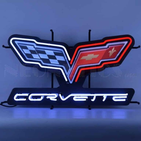 CORVETTE C6 FLAGS NEON SIGN WITH BACKING – 5CRVC6 | moneymachines.com