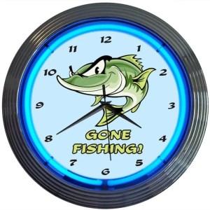 GONE FISHING NEON CLOCK – 8GFISH | moneymachines.com