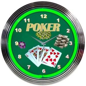 GREEN POKER NEON CLOCK – 8POKER   moneymachines.com