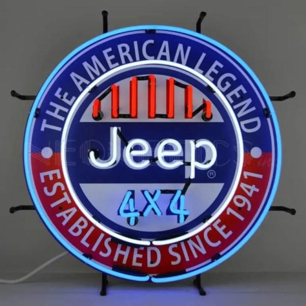 JEEP 4X4 THE AMERICAN LEGEND NEON SIGN – 5JEEPA | moneymachines.com
