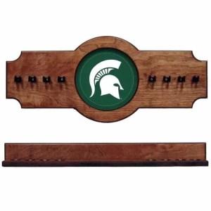 Michigan State Logo 2-Piece Cue Rack Pecan   Moneymachines.com