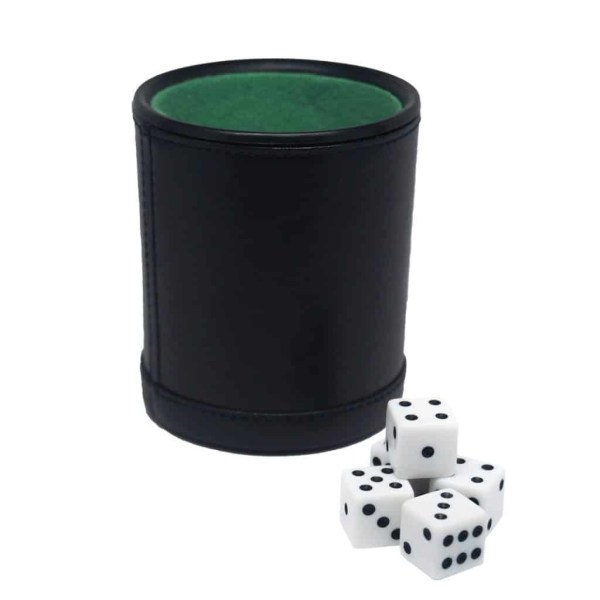 Leatherette Dice Cup With Five Dice by Fat Cat - 55-0100   moneymachines.com