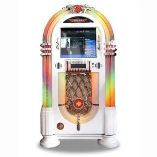 Rock-Ola Bubbler Digital Music Center Jukebox in Gloss White J-70426-A | moneymachines.com