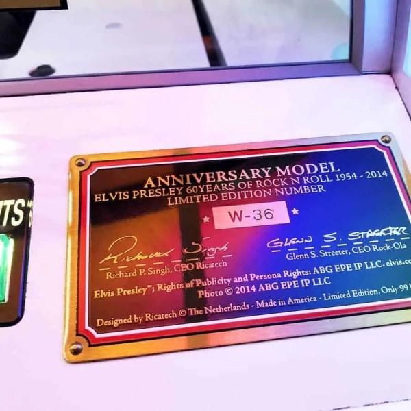 Rock-Ola Bubbler Elvis CD Jukebox Certificate Plate | moneymachines.com