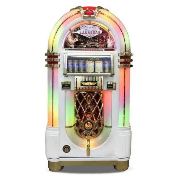 Rock-Ola Bubbler Elvis CD Jukebox in White J-70419-A | moneymachines.com
