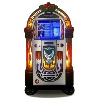 Rock-Ola Bubbler Harley-Davidson Music Center Jukebox Brushed Aluminum | moneymachines.com