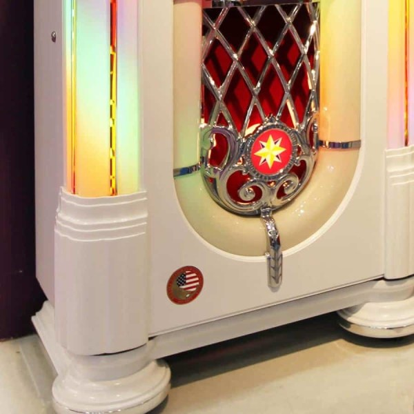 Rockola White Music Center Jukebox Lower | moneymachines.com