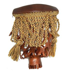 Brown Leather With Gold Mingled Fringe Pool Table 6 Iron Pockets | moneymachines.com