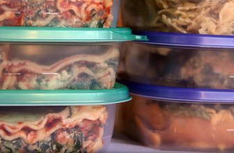 Tupperwear boxes with leftover meals in
