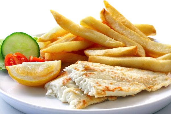 white fish with chips
