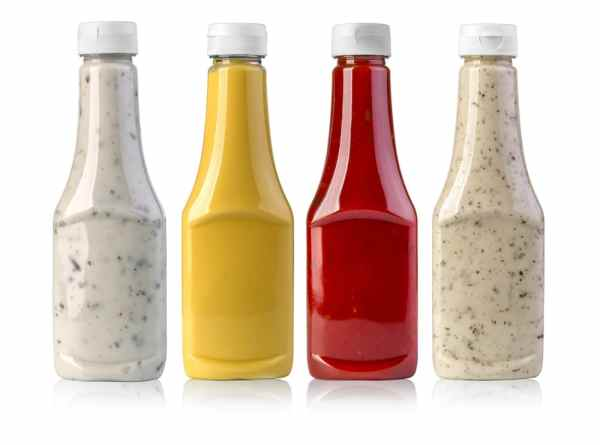 Bottles of condiments