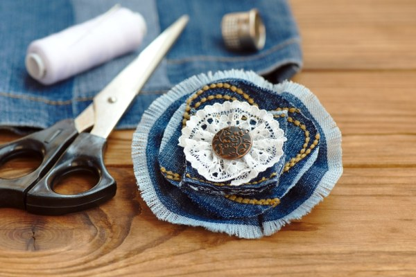 Up-cycled fabric rosette