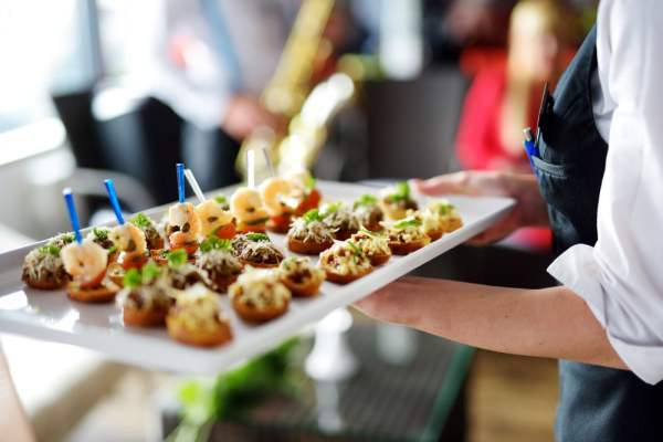 Catering platter held by server