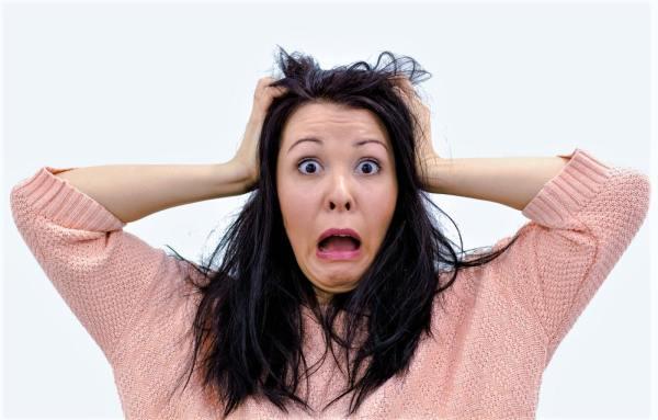 Woman panicking
