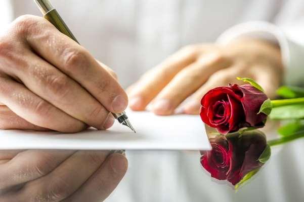 Man writing a poem