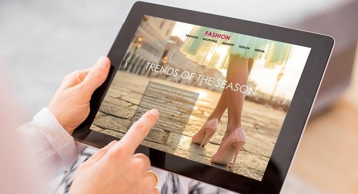 Fashion website on tablet