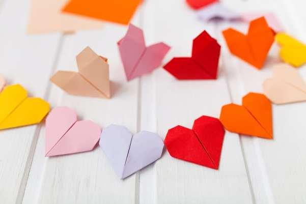 Origami hearts in bright colours