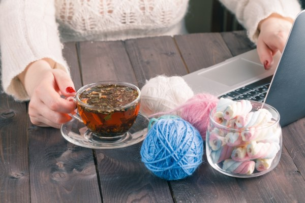 Knitting and Laptop