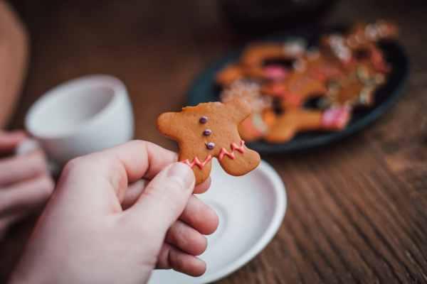 Gingerbread man with head bitten off