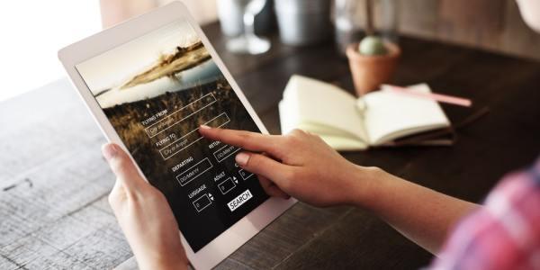 Travel website on tablet pc