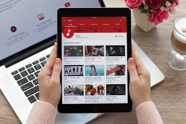 YouTube on tablet