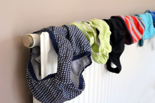 Laundry drying on a radiator