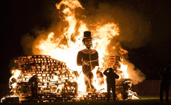 Guy Fawkes on large bonfire