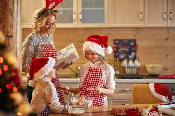 Children baking at Christmas time