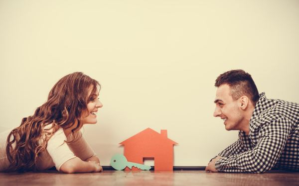 Man and woman shared ownership concept image