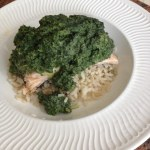 Nettle cream sauce with salmon and brown rice: photo: S.Lockett